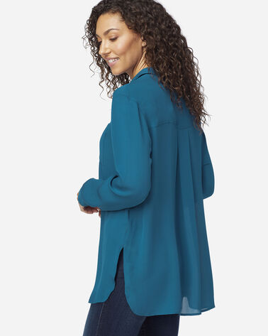 ALTERNATE VIEW OF WOMEN'S LONG-SLEEVE SILK BUTTON-UP SHIRT IN MOROCCAN BLUE