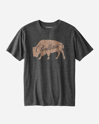 MEN'S BISON GRAPHIC TEE, CHARCOAL HEATHER, large