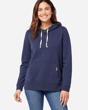 FRONT VIEW OF WOMEN'S ANORAK HOODIE IN CRATER LAKE NAVY