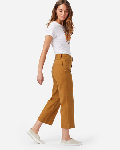 WOMEN'S HIGH-WAISTED CROPPED PANTS IN PEANUT