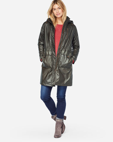 WAXED COTTON HOODED A-LINE JACKET, OLIVE, large