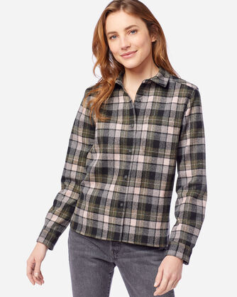 ALTERNATE VIEW OF WOMEN'S LODGE SHIRT IN GREY/PINK SURF PLAID