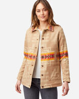 WOMEN'S JACQUARD BARN JACKET IN TAN CHIEF JOSEPH