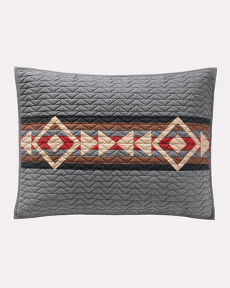ADDITIONAL VIEW OF CROSSROADS PIECED QUILT SET IN GREY
