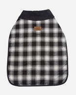 LARGE PLAID DOG COAT IN CHARCOAL OMBRE