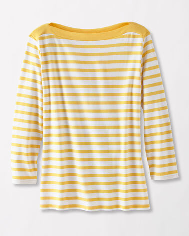 TRIMMED STRIPE TEE, YARROW/WHITE, large