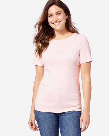 SHORT-SLEEVE COTTON RIBBED TEE, SOFT PINK, large