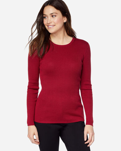RIB JEWEL NECK PULLOVER, RED ROCK, large