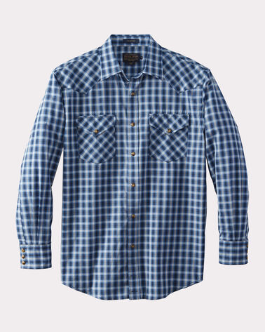 LONG-SLEEVE FRONTIER SHIRT, NAVY SMALL PLAID, large