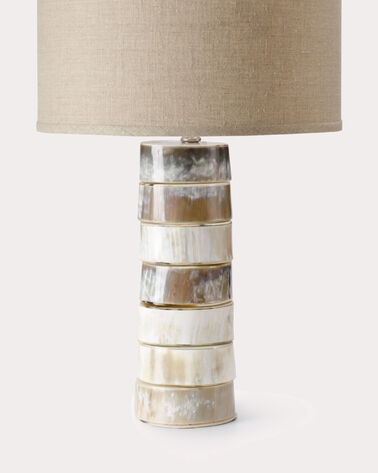 STACKED HORN TABLE LAMP BASE, NATURAL HORN, large