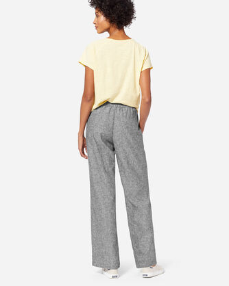 ADDITIONAL VIEW OF WOMEN'S PULL-ON LINEN PANTS IN BLACK CHAMBRAY