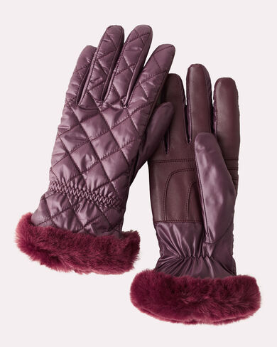 QUILTED ALL WEATHER GLOVES, PORT, large