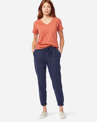 WOMEN'S WASHED LINEN PANTS IN NAVY MIX