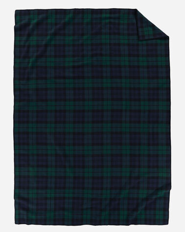ECO-WISE WOOL PLAID/STRIPE BLANKET IN BLACK WATCH TARTAN LAYING FLAT