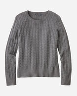 WOMEN'S MERINO CABLE PULLOVER IN GREY HEATHER