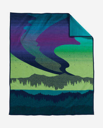 ADDITIONAL VIEW OF NORTHERN LIGHTS BLANKET IN NAVY