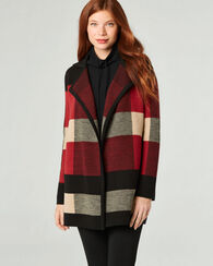 PLAID CARDI, BLACK MULTI, large