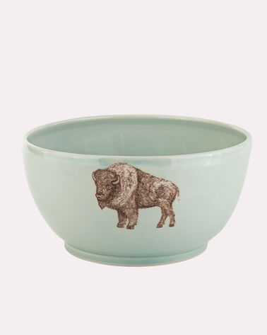 HANDMADE BISON SERVING BOWL, CELADON, large