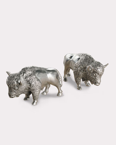 PEWTER BISON SALT AND PEPPER SHAKERS, PEWTER, large