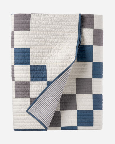 MODERN HERITAGE PIECED QUILT SET, IVORY MULTI, large