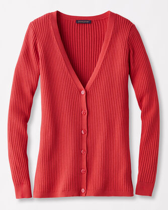 RIBBED CARDIGAN, TRUE RED, large
