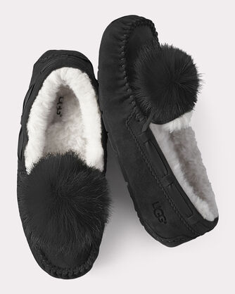 DAKOTA POM POM SLIPPERS, BLACK, large