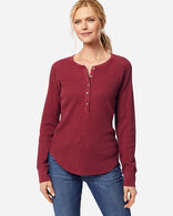 WOMEN'S LONG-SLEEVE THERMAL HENLEY, RED ROCK HEATHER, large