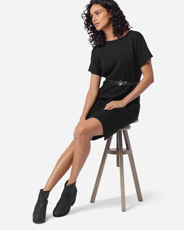 SHORT SLEEVE MERINO SWEATER DRESS in BLACK