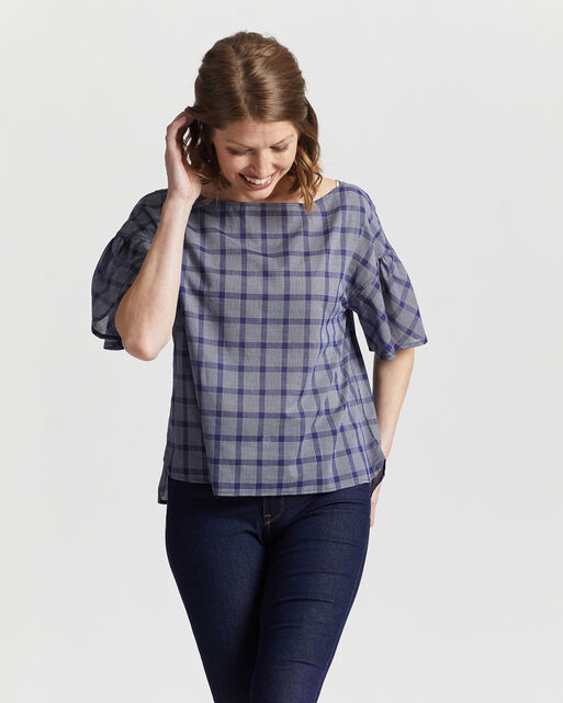 WOMEN'S AIRY SHORT-SLEEVE BOATNECK TOP IN NAVY/WHITE PLAID