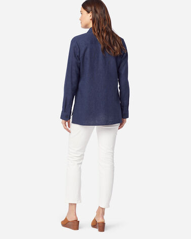 WOMEN'S WASHED LINEN TUNIC SHIRT IN NAVY MIX