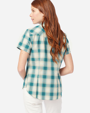 ALTERNATE VIEW OF WOMEN'S SHORT-SLEEVE FRONTIER SHIRT IN AQUA/IVORY