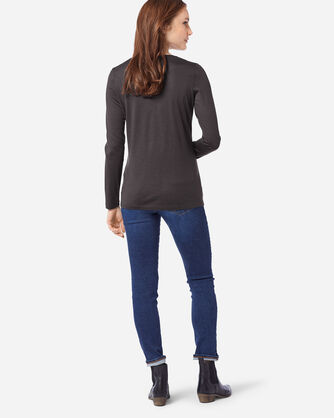 ADDITIONAL VIEW OF MACHINE WASHABLE LONG SLEEVE MERINO TEE IN CHARCOAL