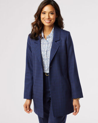 WOOL-LIN LONGLINE JACKET, NAVY/CATALINA BLUE, large