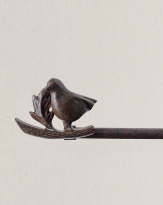 BIRD ON A BRANCH BLANKET HANGER, BURNT RUST, large