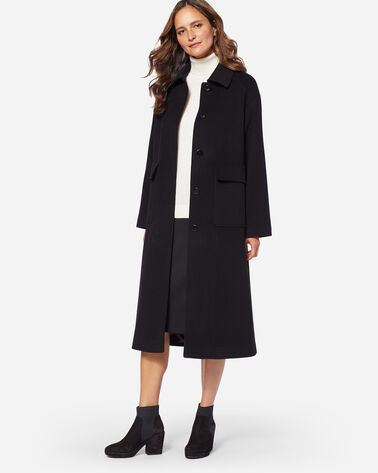 ADDITIONAL VIEW OF LONG WOOL COAT IN BLACK