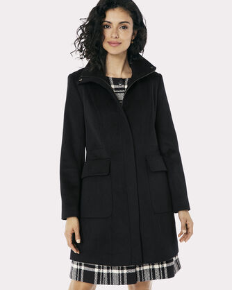 ZIP FRONT WALKER COAT, BLACK, large
