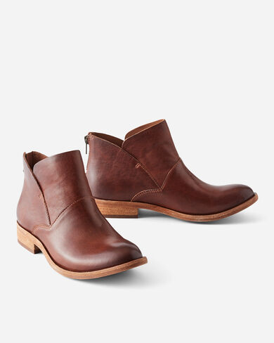 RYDER LEATHER BOOTIES, RUM, large