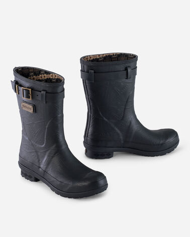 HERITAGE EMBOSSED SHORT BOOTS IN BLACK