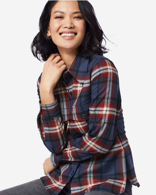 WOMEN'S ULTRALUXE MERINO HARLOW SHIRT IN NAVY/RED LARGE PLAID