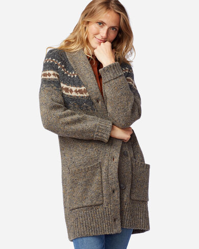 WOMEN'S DONEGAL MERINO CARDIGAN IN GREY