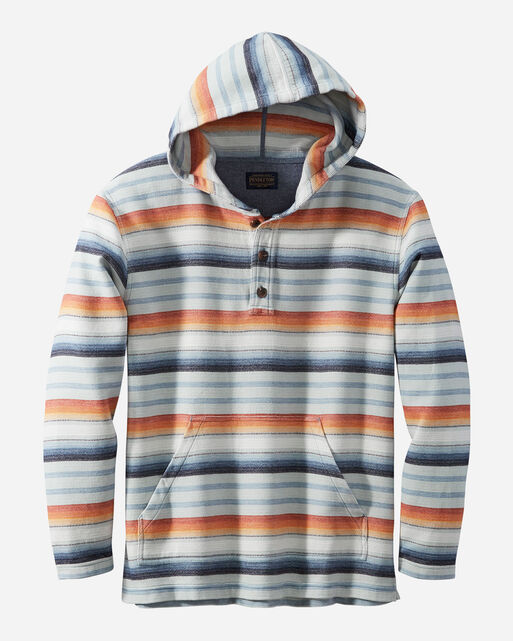 SERAPE STRIPE HOODIE POPOVER IN BLUE/COPPER