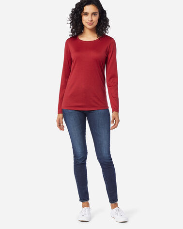 ADDITIONAL VIEW OF MACHINE WASHABLE LONG SLEEVE MERINO TEE IN RED ROCK