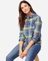 WOMEN'S LONG-SLEEVE SEASIDE SHIRT IN BLUE/PEAR
