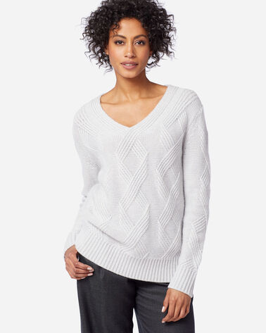 WOMEN'S LUXE CABLE V-NECK SWEATER in PLATINUM