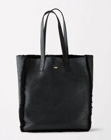 CLAIRE SHEEPSKIN TOTE, BLACK BOMBER, large