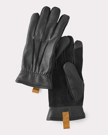 LEATHER SMART GLOVES, BLACK, large