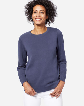 WOMEN'S SOLID COTTON PULLOVER SWEATER