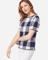 WOMEN'S BOX PLAID COTTON SWEATER IN NAVY/WHITE