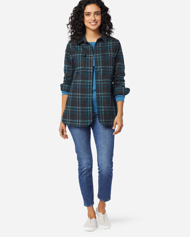 ADDITIONAL VIEW OF WOMEN'S BOARD SHIRT IN CHARCOAL/TEAL PLAID