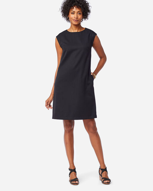 SEASONLESS WOOL CHARLI SHIFT DRESS IN BLACK